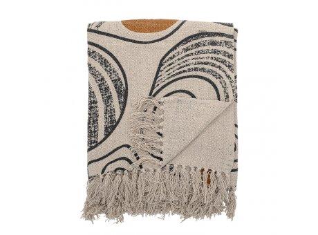 Bloomingville Decke Natur mit Muster Schwarz Gelb Recycelt Baumwolle Throw 130x160 cm Artikel Nr 82049611