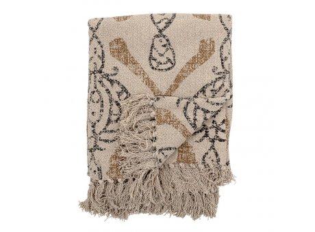Bloomingville Decke Natur mit Muster Schwarz Gold Recycelt Baumwolle Throw 130x160 cm Artikel Nr 82049738
