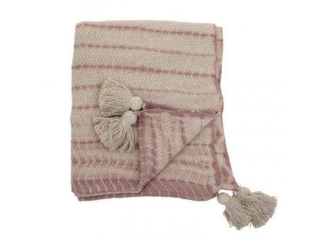 Bloomingville Decke Natur Rosa mit Streifen und Bommeln Recycelt Baumwolle Throw 130x160 cm Artikel Nr 82049733
