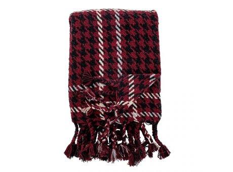 Bloomingville Decke RIVEL Rot Schwarz Weiß 130x150 recycelt Baumwolle Bloomingville Throw Nr 82052519