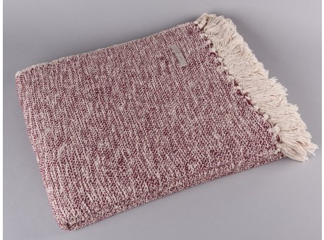 Bloomingville Decke rot creme weiß Plaid mit Fransen aus Baumwolle
