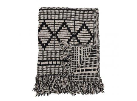 Bloomingville Decke Schwarz Grau mit Muster Recycelt Baumwolle Throw 130x160 cm Artikel Nr 82049671
