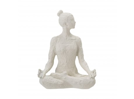 Bloomingville Deko Figur ADALINA Weiss im Schneidersitz aus Polyresin 24 cm gross Bloomingville Skulptur Nr 82051377
