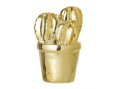 Bloomingville Deko Kaktus gold 9 cm aus Porzellan