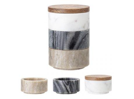 Bloomingville Dose mit Deckel 3er Set Dosen aus Marmor weiß grau braun mit Holzdeckel Stapelbox