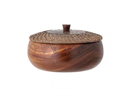Bloomingville Dose mit Deckel Akazie Holz Rattan 24 cm Produkt Nr 82048389