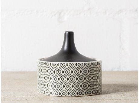 Bloomingville Dose mit Deckel schwarz weiß Rauten Karo Muster 200 ml Vorratsdose 9x10 cm Design orientalisch
