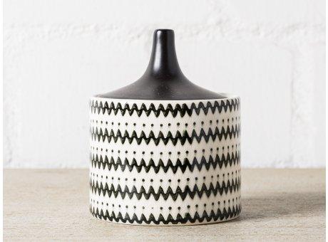 Bloomingville Dose mit Deckel schwarz weiß Zick Zack Muster 380 ml Vorratsdose 12x10 cm Design orientalisch