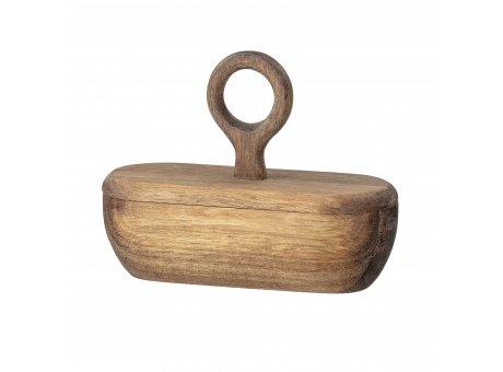 Bloomingville Dose oval Deckel mit Griff rund aus Akazien Holz 18x6 cm Salzdose