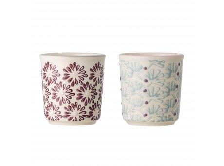 Bloomingville Eierbecher MAYA 2er Set Keramik Becher Geschirr Rot Türkis Bloomingville Produkt Nummer 82046868
