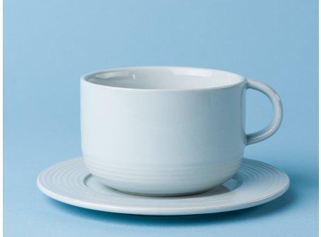 Bloomingville Geschirr Ice Tasse mit Untertasse weiß aus Keramik eis blau