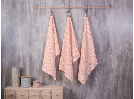 Bloomingville Geschirrhandtuch Carla Design orange weiß mit Metall Öse und Lederband