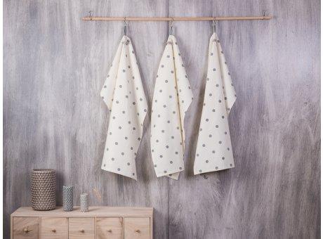Bloomingville Geschirrhandtuch Punkte creme weiß beige mit großen grauen Punkten