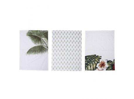 Bloomingville Geschirrtuch Aruba mit Blüten mit Palmen und mit Ananas weiß grün rot 3er Set