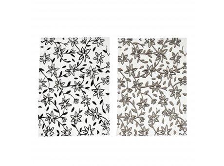 Bloomingville Geschirrtuch Hannah Weiss Grau Schwarz mit Blumen Geschirrhandtuch aus Baumwolle Bloomingville Produkt Nr. 90168267