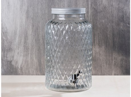 Bloomingville Getränkespender aus Glas mit Deckel und Zapfhahn für ca 6 Liter