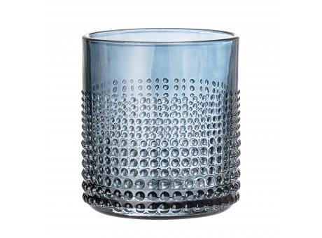 Bloomingville Glas Blau Punkte Struktur spülmaschinenfest Trinkglas für 300 ml