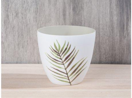 Bloomingville Jade Votive mit Palmenblatt aus Porzellan in weiß Palme grün