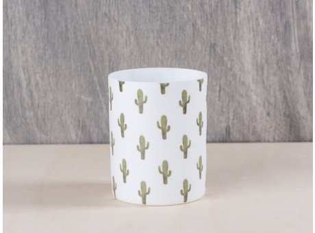 Bloomingville Jade Votive Windlicht Kaktus mit grünen Kakteen