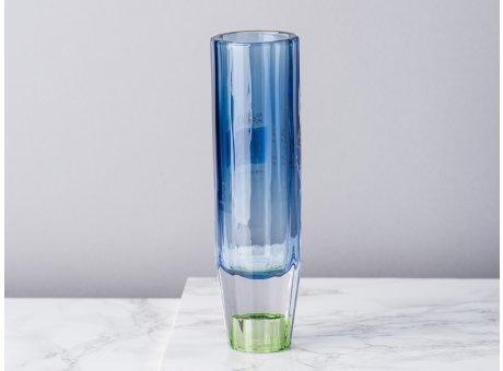 Bloomingville Kerzenhalter Blau Grün aus Glas groß für 1 Kerze Höhe 17 cm auch als Vase für zu verwenden Blumenvase für eine Blume modern wenden