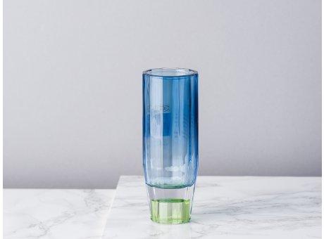 Bloomingville Kerzenhalter Blau Grün aus Glas klein für 1 Kerze Höhe 12 cm auch als Vase für zu verwenden Blumenvase für eine Blume modern wenden