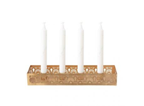 Bloomingville Kerzenhalter RONI Tablett Gold für 4 Kerzen 35 cm Lang Bloomingville Weihnachtsdeko Nr 82052719