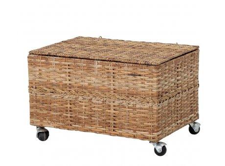 Bloomingville Korb mit Deckel Wäschekorb mit Rollen 56x40 cm