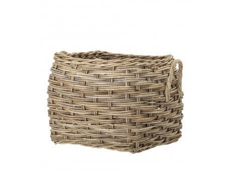 Bloomingville Korb Rattan eckig natur stabil als Blumenkübel Wäschekorb oder Aufbewahrungskorb 50x58 cm großer Korb mit Henkeln