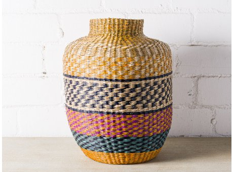 Bloomingville Korb Seegras Multi Color XL Deko Vase Design Bunt 35 x 44 cm Modern Ethno