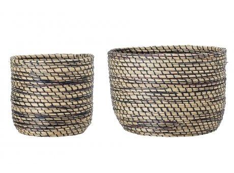 Bloomingville Korb Set Seegras schwarz natur als Blumentopf Wäschekorb oder Aufbewahrungskorb 2er Set runde Körbe