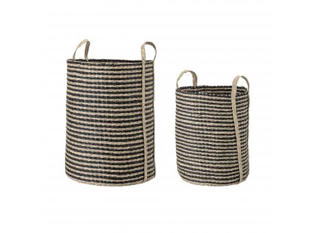 Bloomingville Korb Set Seegras schwarz natur mit Henkel gerade Zylinder Form