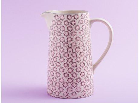 Bloomingville Krug MAYA Keramik Kanne groß Geschirr Blumen Design Rot