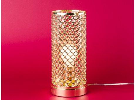 Bloomingville Lampe gold rund Tischlampe Metall mit Netz Lampenschirm