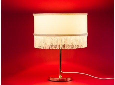 Bloomingville Lampe gold weiß Lampenschirm mit Fransen im Art Deco Design