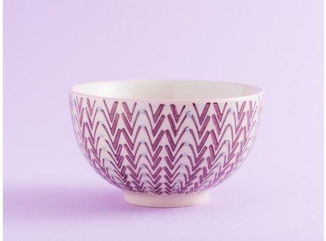 Bloomingville Müslischale MAYA Keramik Schüssel klein 0,35l Geschirr Schale creme rot