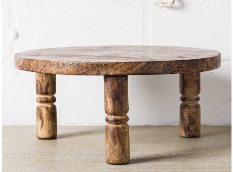 Bloomingville Pedestal Tablett Rund Holz 34 cm 15 cm hoch mit Beinen Servierbrett Deko