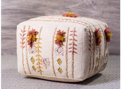 Bloomingville Pouf Baumwolle Creme weiß Bestickt mit Quasten Floral Sitzpuff 45x45x30 cm