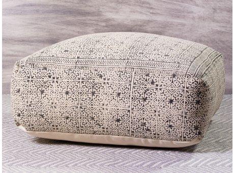 Bloomingville Pouf Grau Schwarz Muster Sitzpuff 60x60 cm Bodenkissen Höhe 35 cm eckig