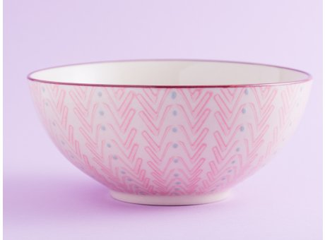 Bloomingville Schale MAYA Keramik Schüssel groß Geschirr Müslischale creme rosa