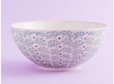 Bloomingville Schale MAYA Keramik Schüssel groß Geschirr Müslischale creme türkis
