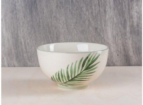 Bloomingville Schale mit Palmenblatt aus der Jade Kaktus Keramik Geschirr Kollektion Müslischale