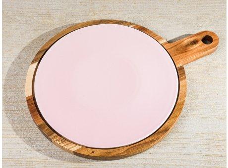 Bloomingville Schneidebrett ALBERTE Holz Akazienholz mit Keramik Rosa Untersetzer Tapasbrett 37x28 cm