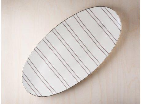 Bloomingville Servierplatte Ava Geschirr mit Goldrand Servier Teller 27 cm 21x43 cm groß