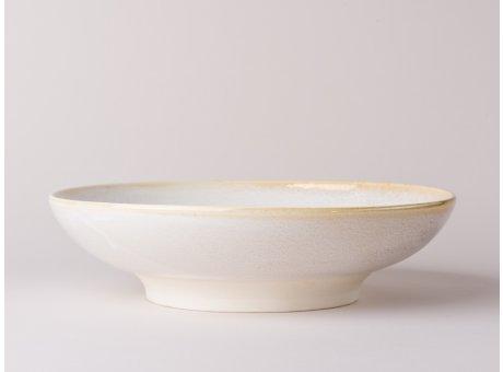 Bloomingville Servierplatte Carrie Geschirr Serie aus Keramik in creme beige Servierschale Suppenteller 25,5 cm Durchmesser