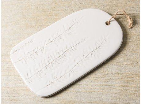 Bloomingville Serviertablett Keramik Weiß 20x33 cm Schneidebrett Tapasbrett