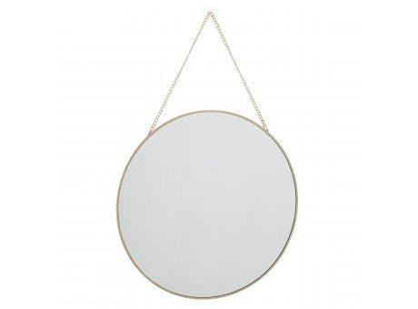 Bloomingville Spiegel Gold Rund Wandspiegel zum Aufhängen mit Kette 38 cm Durchmesser