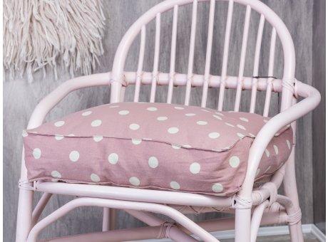 Bloomingville Stuhlkissen rosa mit weißen Punkten Sitzkissen mit Füllung