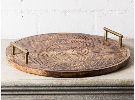 Bloomingville Tablett MANGO Holz mit Metall Griffen 50cm rund Serviertablett Tapasbrett