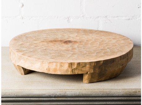 Bloomingville Tablett MANGO Holz Natur 45 cm 9 cm hoch Holztablett Rund UNIKAT schwere Ausführung mit Füssen