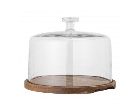 Bloomingville Tortenplatte NICI aus Akazien Holz mit Glasdeckel 22x29 cm Bloomingville Servierplatte Nr 82052209